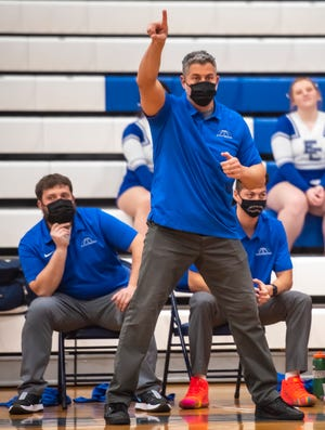 Ellwood City head boys basketball coach Steve Antuono gestures to his players Friday night during a game earlier this season.