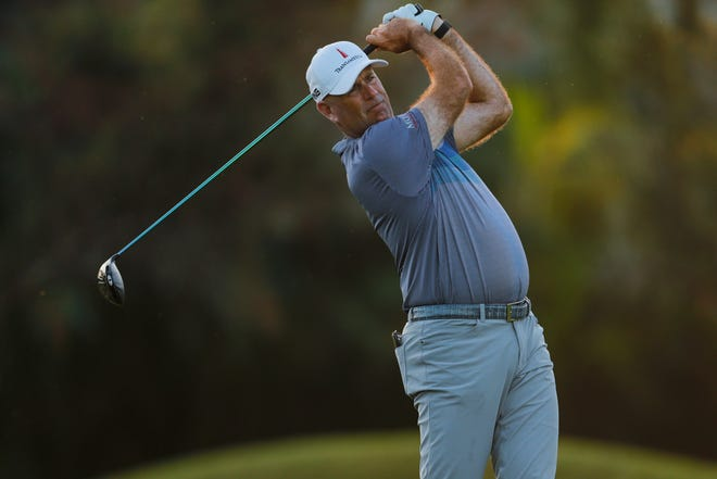 Stewart Cink follows his shot from the first tee during the second round of the Sony Open on Friday in Honolulu.