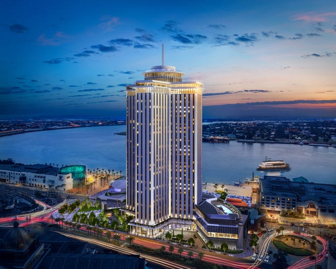 The Four Seasons' $530 million renovation of the formerWorld Trade Center, located whereCanal Streetmeets theMississippi River, started over three years ago and is expected to be completed in the spring. An artist's rendering shows the completed project.