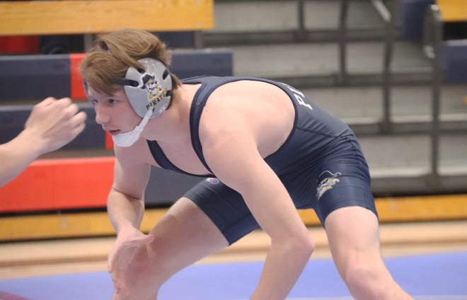 Zach Brown wrestles in a triangular in Fertile on Jan. 16. Brown enters Tuesday's Section 8A Individual Tournament with a 31-2 record during his senior season.