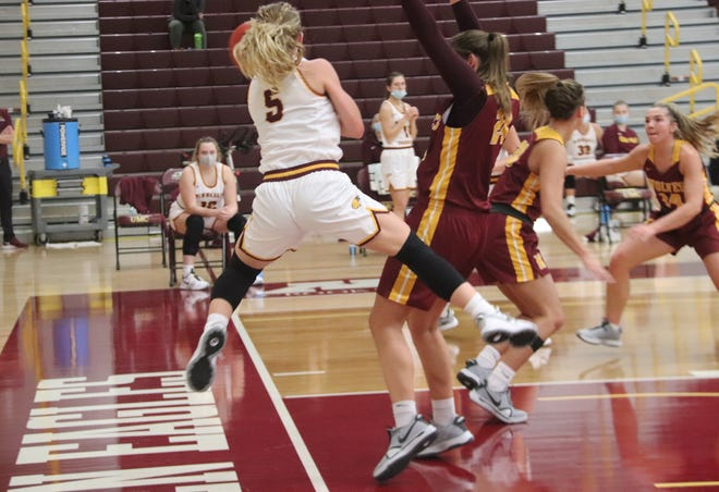Kylie Post in a game against Northern State on Friday, Jan. 15. Post led Minnesota Crookston with 14 points, but the Golden Eagles fell 59-55 to the University of Mary Friday evening.