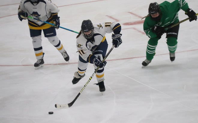 Grace Fischer and the Crookston girls' hockey team fell 2-0 to East Grand Forks on Friday night.