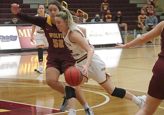 Mary Burke in a game against Northern State on Jan. 15, 2021. Burke scored 13 points in Minnesota Crookston's loss at Minot State Friday.