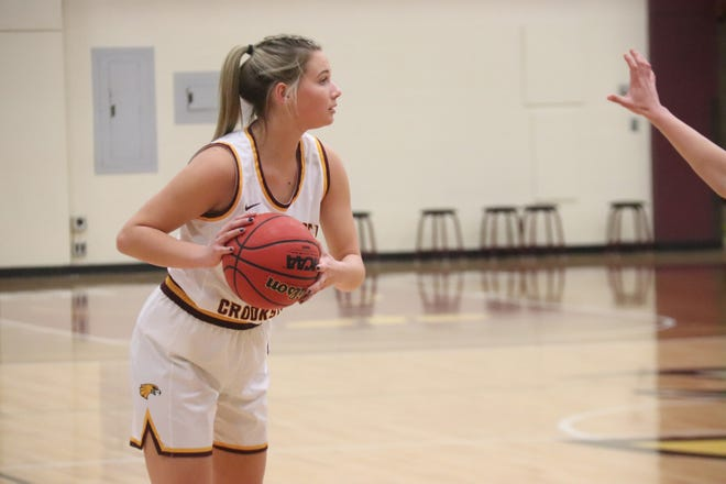 Emma Carpenter in a game against Northern State on Jan. 15. Carpenter led Minnesota Crookston with 14 points in its 59-49 loss to St. Cloud State Friday.