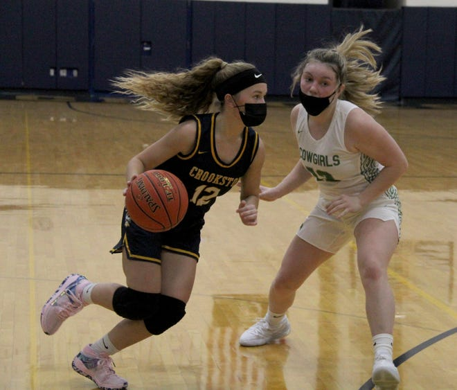 Halle Winjum in a game against Breckenridge on Jan. 15, 2021. Winjum scored 18 points in Crookston's 54-18 win at Park Rapids Thursday.