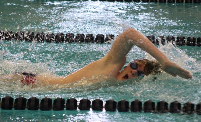 Hornell's Dane Thompson takes a breath during Saturday's meet against Dansville in Hornell.