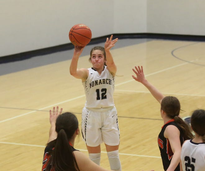 Sophia Balthazor puts up a 3-pointer during TMP-Marian's 56-38 win over Ellis on Friday at Al Billinger Fieldhouse.