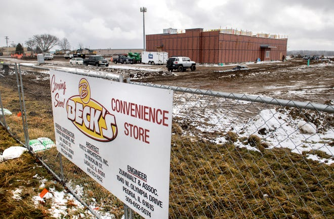 The former sites of True Taste of Italy at 1113 Washington Road and a Shell station next door on U.S. Business Route 24 are being transformed into a Beck's fuel center and convenience store.