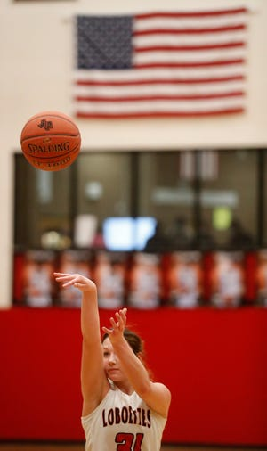 Levelland's Allie Latham (31) shoots a free throw in the first half of their home conference game between Levelland High School and and Big Spring High School on Friday January 15th, 2021. (Mark Rogers/For A-J Media)