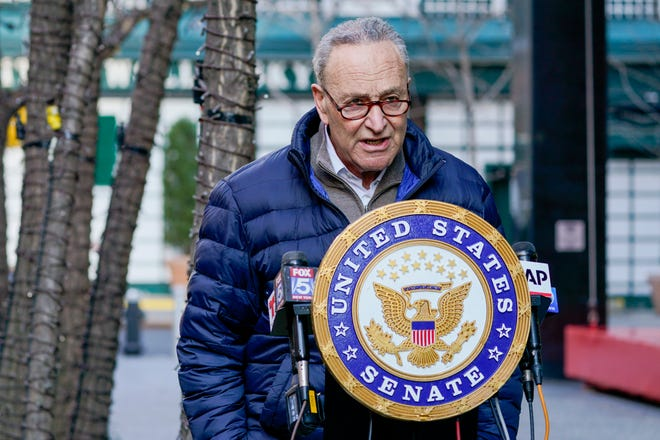 In this Jan. 12, 2021, photo, Senate Minority Leader Chuck Schumer, D-N.Y., speaks to reporters during a news conference in New York.