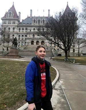 Stockbridge Valley Central School 8th grader Tim Bernet represented Reality Check last year by traveling to Albany for Legislative Education Day. He joined more than 100 other young people from across the state to address the ways tobacco products are marketed.