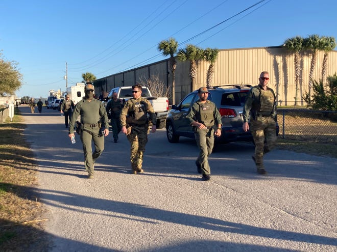 St. Johns County law enforcement officials were called to the wastewater treatment facility on Riberia Street after a man barricaded himself and another man in an RV Jan. 16, 2021.