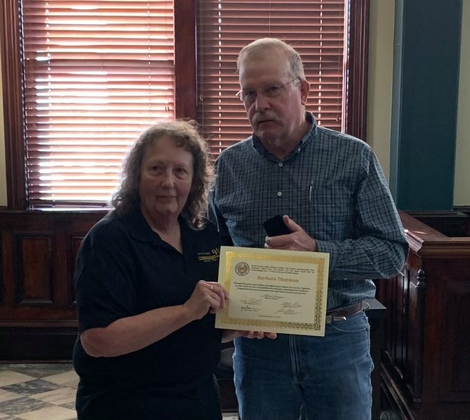 The Erath County Commissioners Court recognized employees for their distinguished years of service in their regular held session last week. Dispatcher Barbara Thurman was recognized for having served the citizens of Erath County for 15 years.
