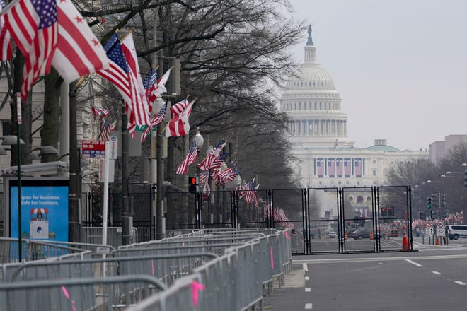 The view down Pennsylvania Avenue shows the ramped-up security around Capitol Hill ahead of the inauguration of President-elect Joe Biden and Vice President-elect Kamala Harris.
