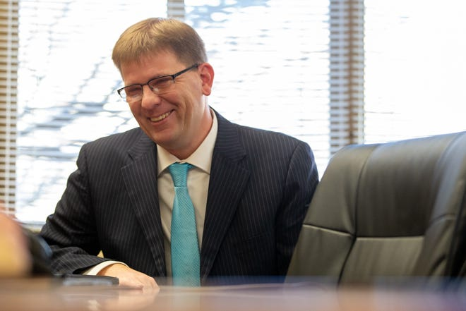 Shawn Sullivan, president and CEO of Midland Care, smiles while describing the strangeness of starting a new job during a global pandemic. Sullivan sat down with The Topeka Capital-Journal last Tuesday to talk about his past experience and his plans moving forward.