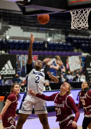 Oluchi Ezemma had 14 points and 17 rebounds for the Holy Cross women's basketball team in its Sunday win over Colgate.