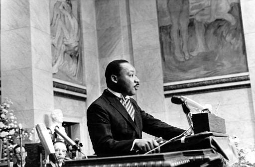 The Rev. Martin Luther King Jr., delivers his Nobel Peace Prize acceptance speech in the auditorium of Oslo University in Norway on Dec. 10, 1964.  King, the youngest person to receive the Nobel Peace prize, is recognized for his leadership in the American civil rights movement and for advocating non violence.  (AP Photo)