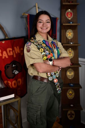 Kayla Ivory, a Jack Britt High School senior, has become one of the first female Eagle Scouts in the Fayetteville area.