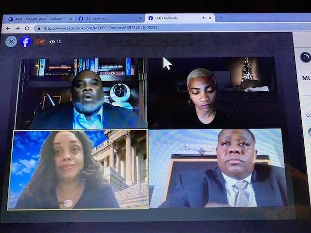 A town hall social justice symposium was held virtually last Wednesday as part of the King Celebration 2021 events sponsored by the Martin Luther King Jr. Commission of Florida Inc.participants. Participants included, topnfrom left, Charles 'Chuck' Hobb II; community and social activist Aeriel Lane, and bottom from left, Attorneys Stephanie Mickle and AuBroncee Martin.