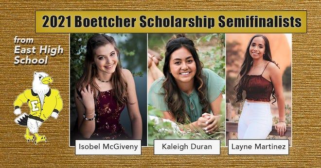 Pueblo East High School's three Boettcher Scholarship semifinalists