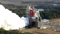 NASA test fired the four RS-25 engines on its Space Launch System on Saturday, Jan. 16, 2021, at Stennis Space Center in Mississippi. The test, meant to run eight minutes, ended after less than two minutes due to technical issues.