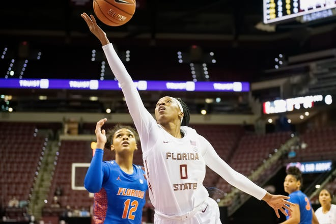Florida State guard Bianca Jackson (0) drives to the basket in a game vs. the Florida Gators at the Donald L. Tucker Civic Center in Tallahassee, FL., on Dec. 1, 2020.