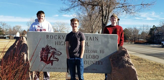 Members of Rocky Mountain High School's state championship Rocket League team, from left, Kyle Papp, Grady Bartran and Cameron Gartzka, are pictured outside the school Friday, Jan. 15, 2021.