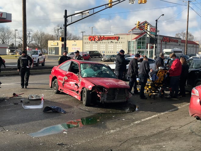 A Pendleton man accused of domestic battery led Muncie police on a chase, with an infant in his car, on Jan. 15. The brief pursuit ended with a four-vehicle crash at Memorial Drive and Madison Street.