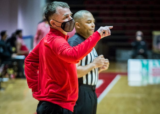 FILE -- Ball State coach James Whitford looks on as BSU faces off against Northern Illinois during their game at Worthen Arena Saturday, Jan. 16, 2021. Ball State defeated NIU 78-58.