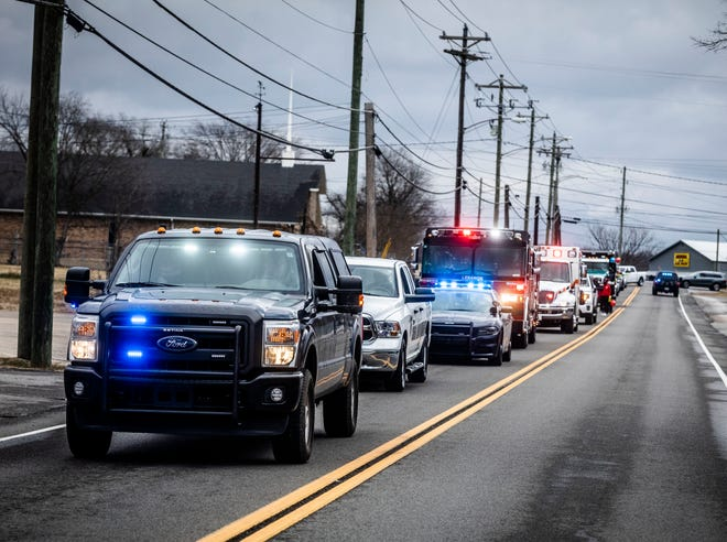 First responders lead a motorcade and march through Lebanon honoring Martin Luther King Jr.'s legacy and the first responders in the aftermath of the 2020 tornado Saturday, January 16, 2021.