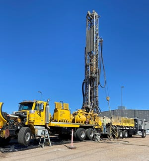 Yellow Jacket Drilling Services, LLC install a new monitoring well in the Doña Ana County Fleet Maintenance Facility parking lot.