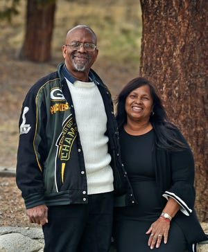 Don and Patricia Gallimore pose for a photograph in a park near their Reno home on Jan. 15, 2021.