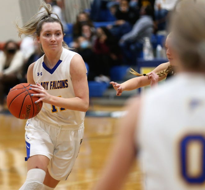 Veribest's Cora Blackwell, 11, gets ready to pass the ball to Kennadi Wheeless during a home game against Menard on Friday, Jan. 15, 2021.