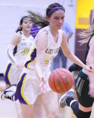 Ozona High School's Shelbie Galindo dribbles up the court in a game in Ozona during the 2020-2021 girls basketball season.