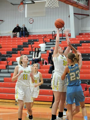 Tri-Valley's Tailor Dupler shoots a short jumper during Saturday's game with Lima Bath at the Classic in the Country at Hiland's Perry Reese Center. The Scotties won 57-46.