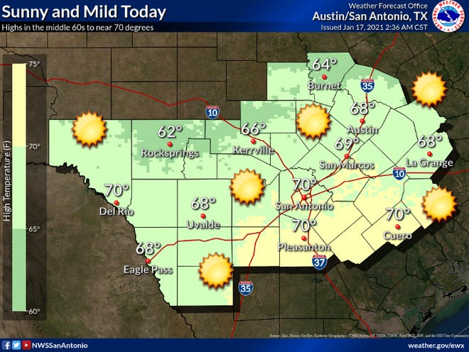 Highs are expected to be in the mid-60s. Image courtesy of National Weather Service
