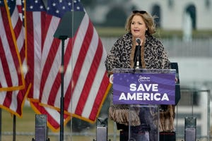 """In this Jan. 6, 2021, file photo Amy Kremer, chairwoman of Women for America First, speaks in Washington at a rally in support of President Donald Trump. In a statement issued the same day insurrectionists attacked the Capitol, Kremer denounced the assault and said it was instigated after the rally by a """"handful of bad actors,"""" while seeming to blame Democrats and news organizations for the riot. (AP Photo/Jacquelyn Martin, File)"""