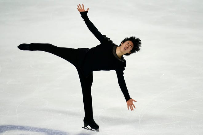 Nathan Chen performs during the men's free skate at the U.S. Figure Skating Championships on Sunday in Las Vegas.