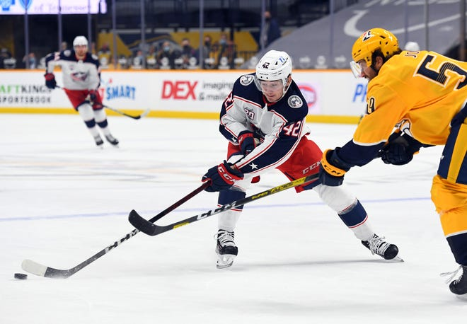 Centering a line with Nick Foligno and Liam Foudy on the wings, Alexandre Texier had a goal and an assist in Saturday's loss at Nashville.