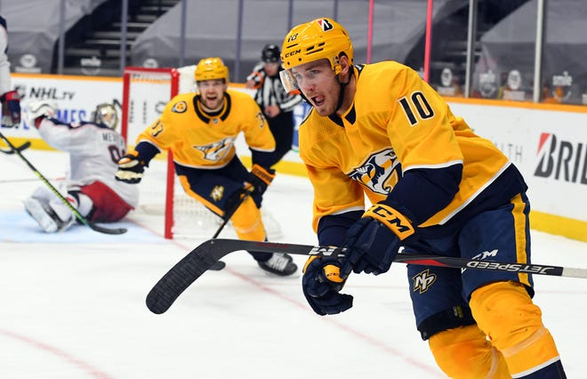 Nashville forward Colton Sissons celebrates his third-period goal, one of three the Predators scored in the final nine minutes of a 5-2 victory over the Blue Jackets.