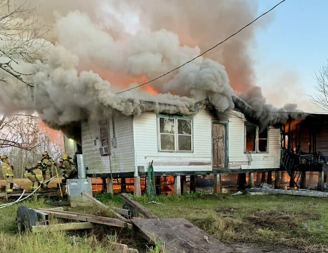 Fire rips through a home Saturday afternoon in Grand Bois. No injuries were reported.