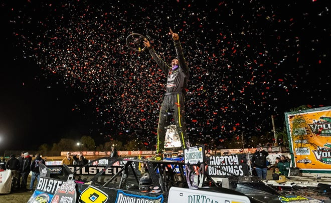 Kyle Stricklin was ecstatic after his first career World Of Outlaws win.