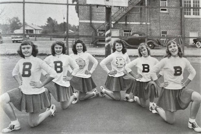 The 1950 Bunnell cheerleaders were, pictured left to right: Norma Bailey, Lou Ann Botsford, Barbara Botsford, Lisa Cowart, Sally Johnson and Barbara Tidwell.