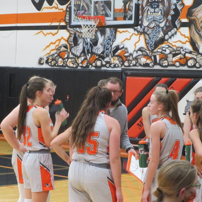 Mediapolis High School freshman Haley Steffener (right) scored 18 points on six 3-pointers to lead the Bullettes to a 46-42 victory over Burlington on Saturday.