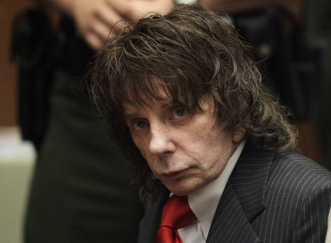 "FILE - In this May 29, 2009 file photo, music producer Phil Spector sits in a courtroom for his sentencing in Los Angeles. Spector, the eccentric and revolutionary music producer who transformed rock music with his ""Wall of Sound"" method and who was later convicted of murder, died Saturday in Stockton at age 81."