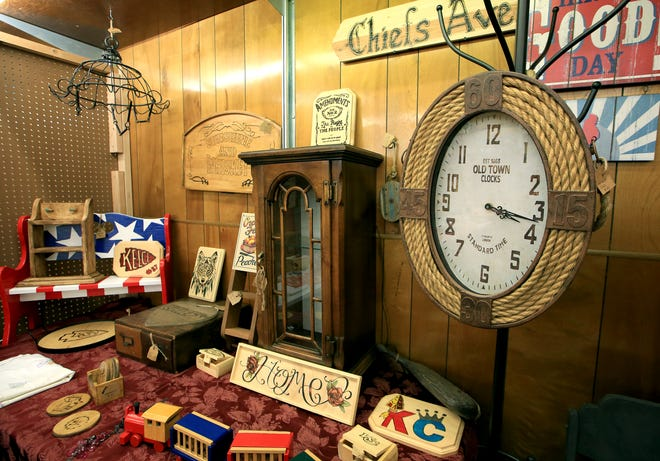 A rustic rope Old Town Clock is an item for sale at one of the many vendors' booths at Long Ago Antique Mall, 100 N. Main, in downtown Hutchinson.