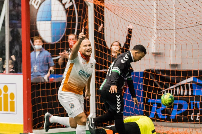 Florida Tropics forward Guilherme Dos Santos celebrates on of his two goals Saturday night at the RP Funding Center during a Major Arena Soccer League game in Lakeland.