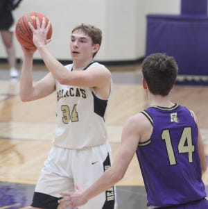 Isaac Brockman (#34) supplied four points Saturday afternoon to help the Cairo Bearcats cruise past Pilot Grove winning 74-42.