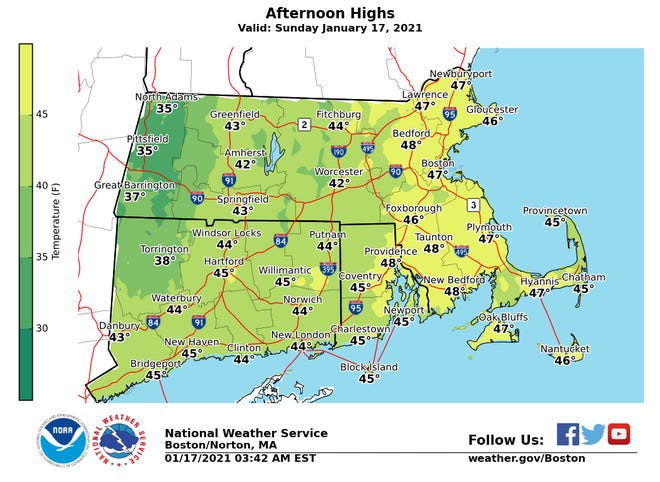 Afternoon highs for Sunday.