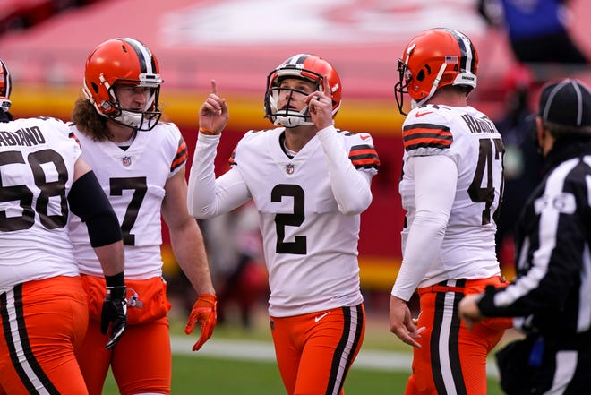 Browns kicker Cody Parkey (2) was placed on injured reserve Monday, opening the door for Chase McLaughlin to become the starter. [Charlie Riedel/Associated Press]